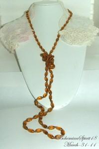 Vintage Art Deco Czech Amber Glass 54Flapper/Necklace