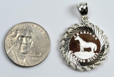 17mm .999 PURE SILVER  Quarter Horse Coin in S//S Diamond-Cut Rope Pendant