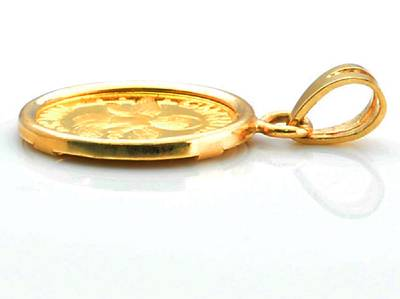 Pure 24kt 9999 gold guardian angel coin in 14kt gold pendant ebay description aloadofball Choice Image