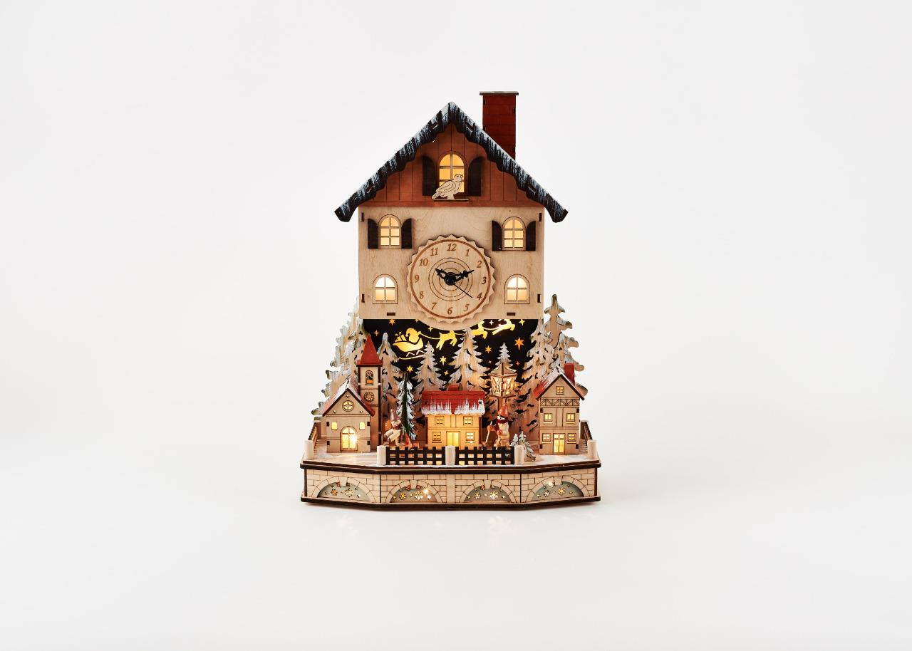 180 Degrees  Wood Town Clock Night Before Christmas Village Lighted Scene