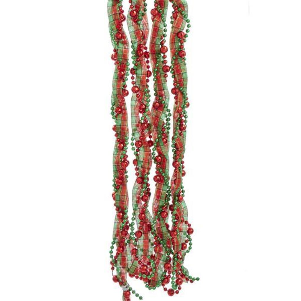 6 ft long Red and Green Glitter Garland