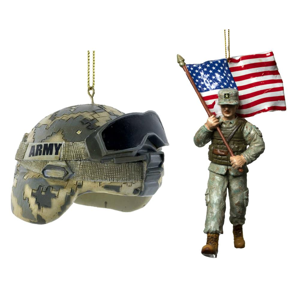 Kurt Adler Us Army Soldier With Flag And Helmet Christmas Ornament Set Of 2 Ebay