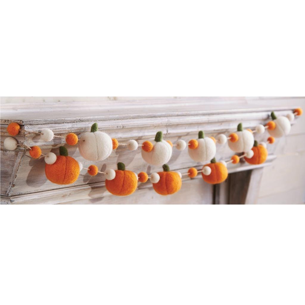 Mud Pie Orange Felt Thanksgiving Fall Pumpkin Garland 60 String Ebay