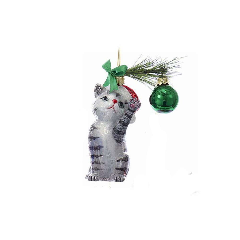 Kurt Adler Gray Tabby Cat Playing With A Christmas Ball 5 Ornament Ebay