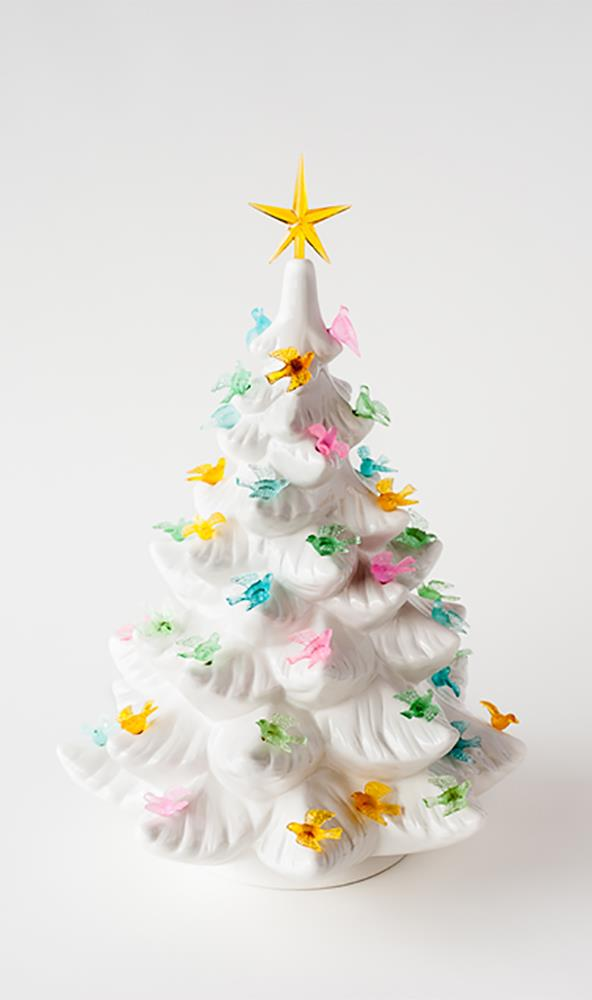 Ceramic Christmas Tree With Lights.Details About Nostalgia Style White Ceramic Christmas Tree W Pastel Bird Lights 15 Tall