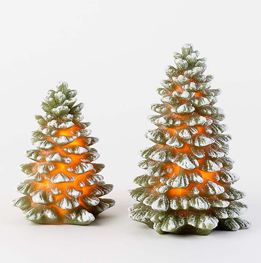 Christmas Tree Auction: 180 Degrees Wax Christmas Tree Candle Figures, Set Of 2