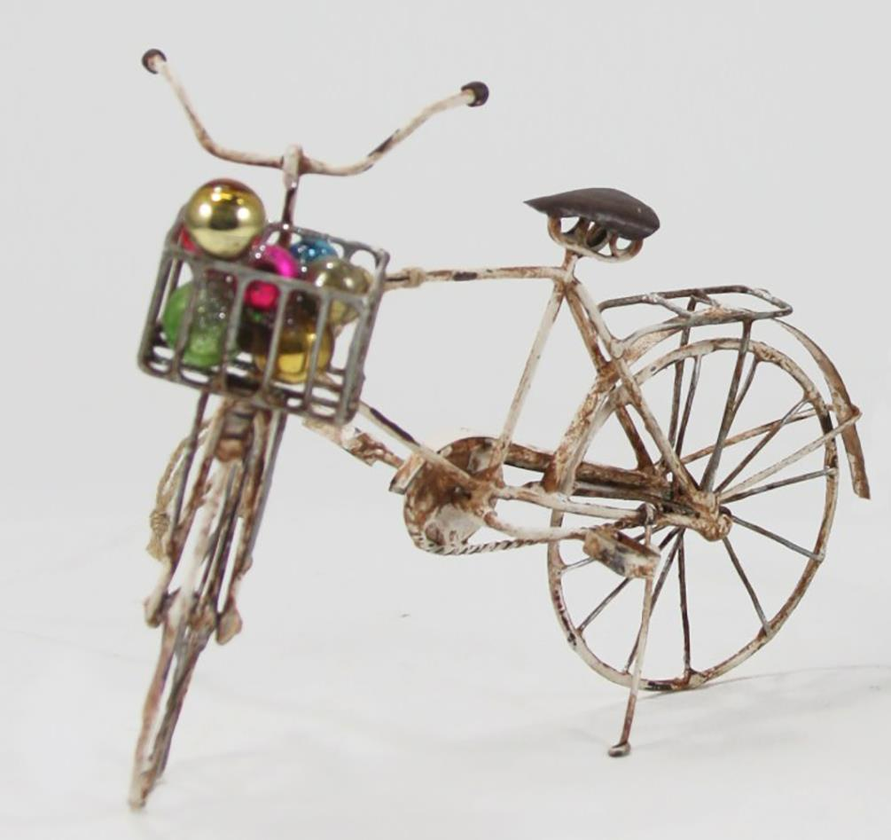 cody foster ivory tin bicycle ornament with basket of christmas ornaments