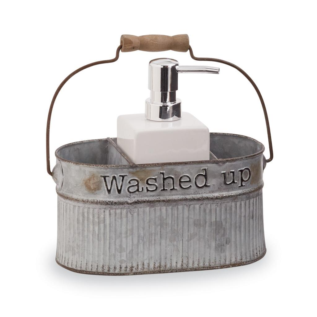 """Mud PIe Retreat Collection Galvanized Tin Kitchen Sponge Holder 7/"""" x 5/"""""""