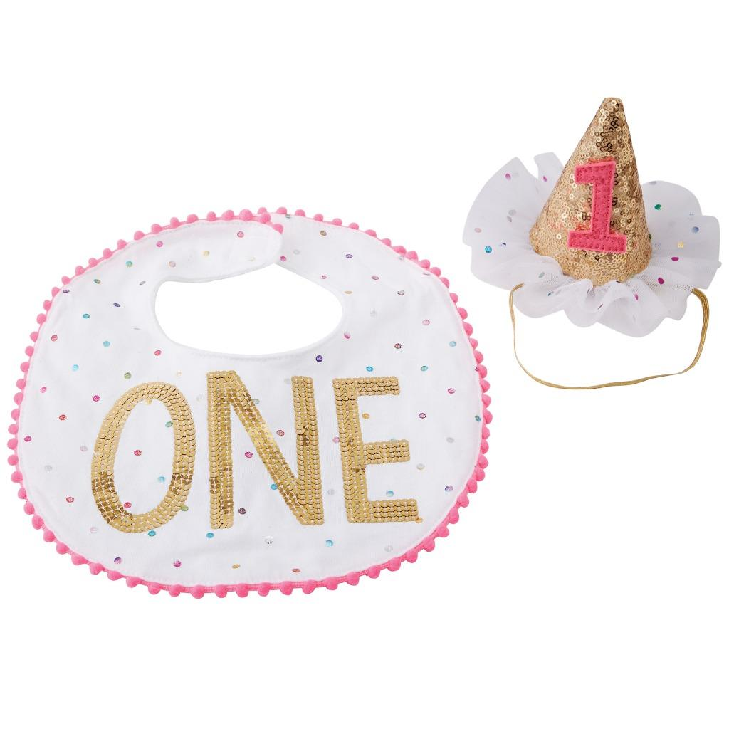 Details About Mud PIe Birthday Girl Confetti Cake Smashing Hat And Bib Party Set