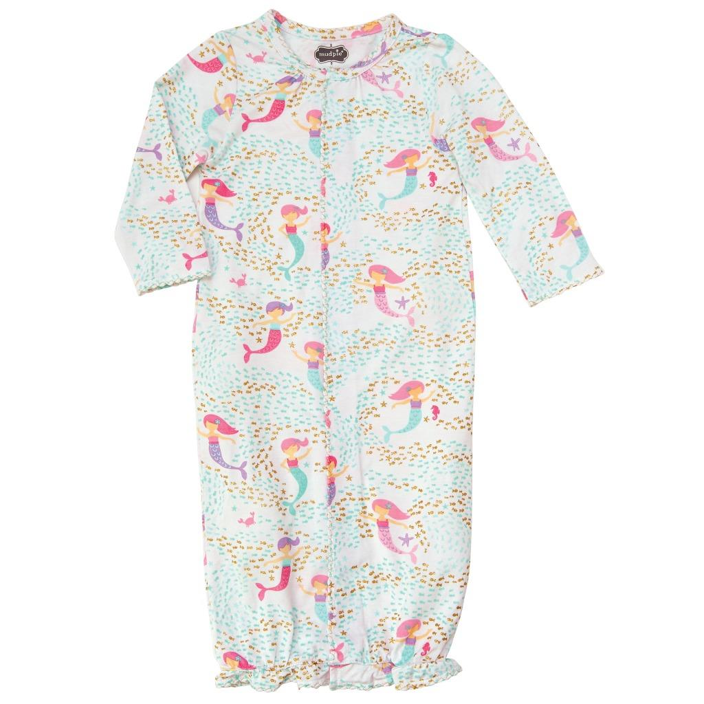 Mud Pie Mermaid Collection Print Convertible Baby Sleep Gown | eBay