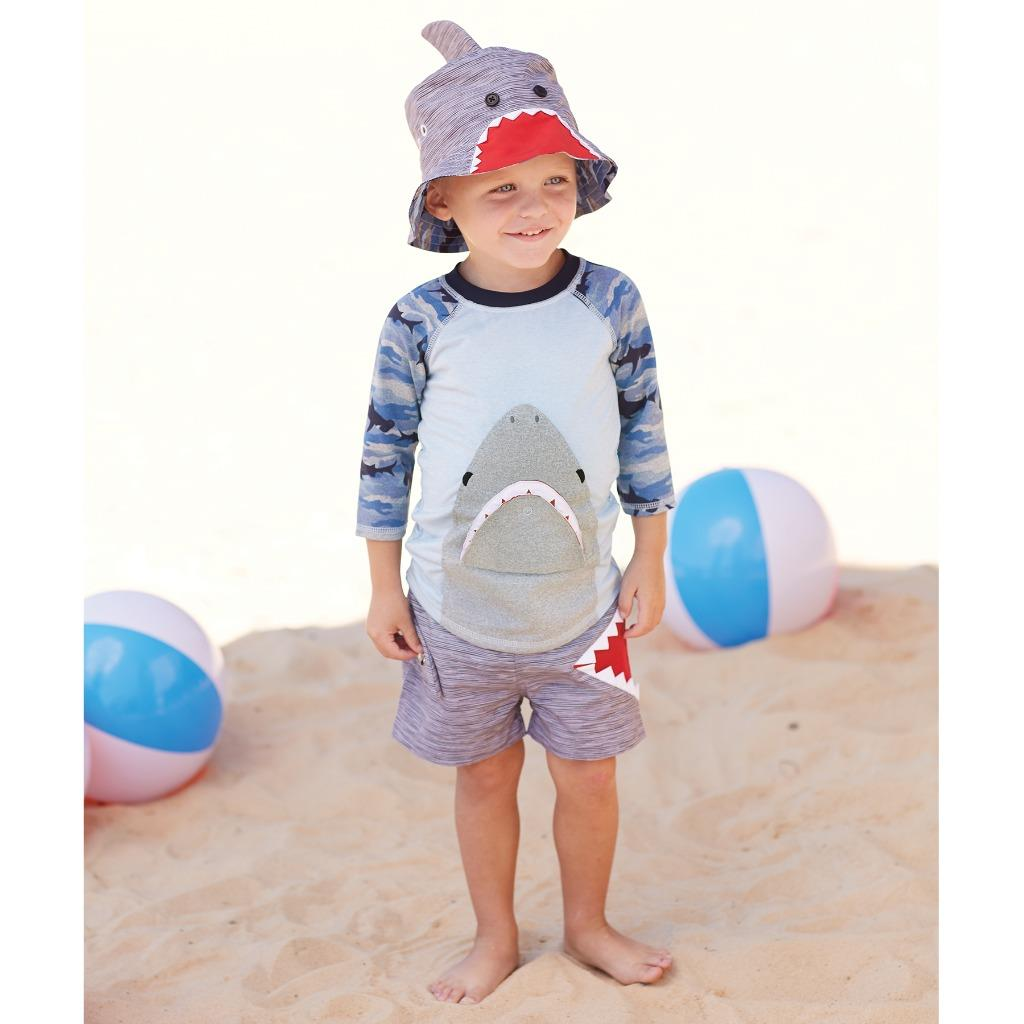 MSemis Baby Boys Shark Tankini Set Long Sleeve T-Shirt Shorts Rash Guards Swimsuit with Hat