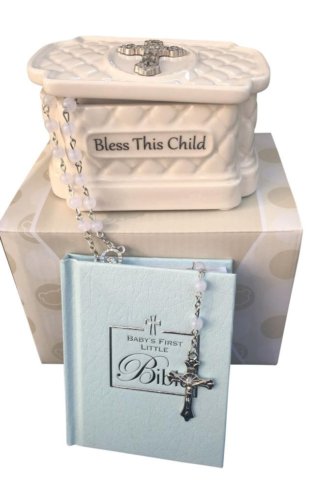 Christening Gift Set Blue Bible And Cathelic Rosary Beads