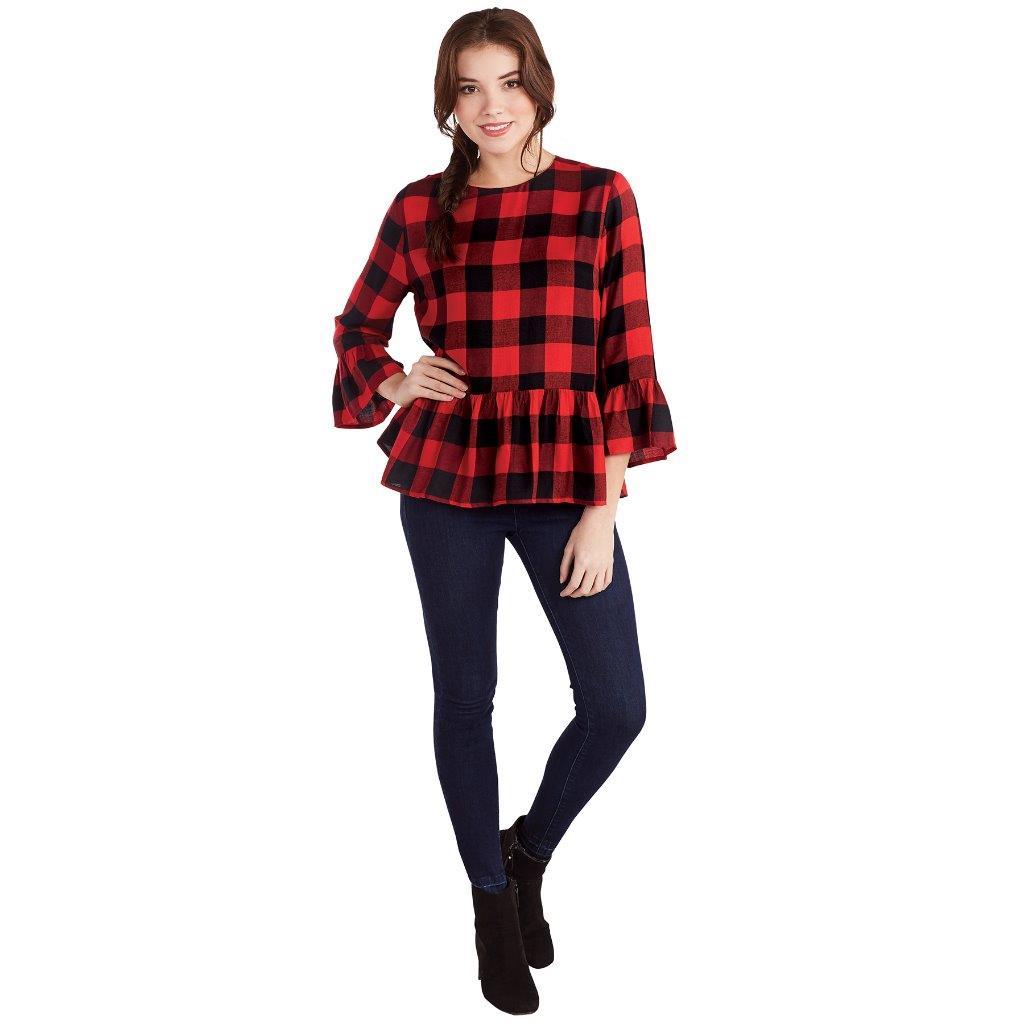 Details about Mud Pie Womens Flora Flounce Shirt Red Black Buffalo Check  Print Long Sleeve cb8fb091a8fb