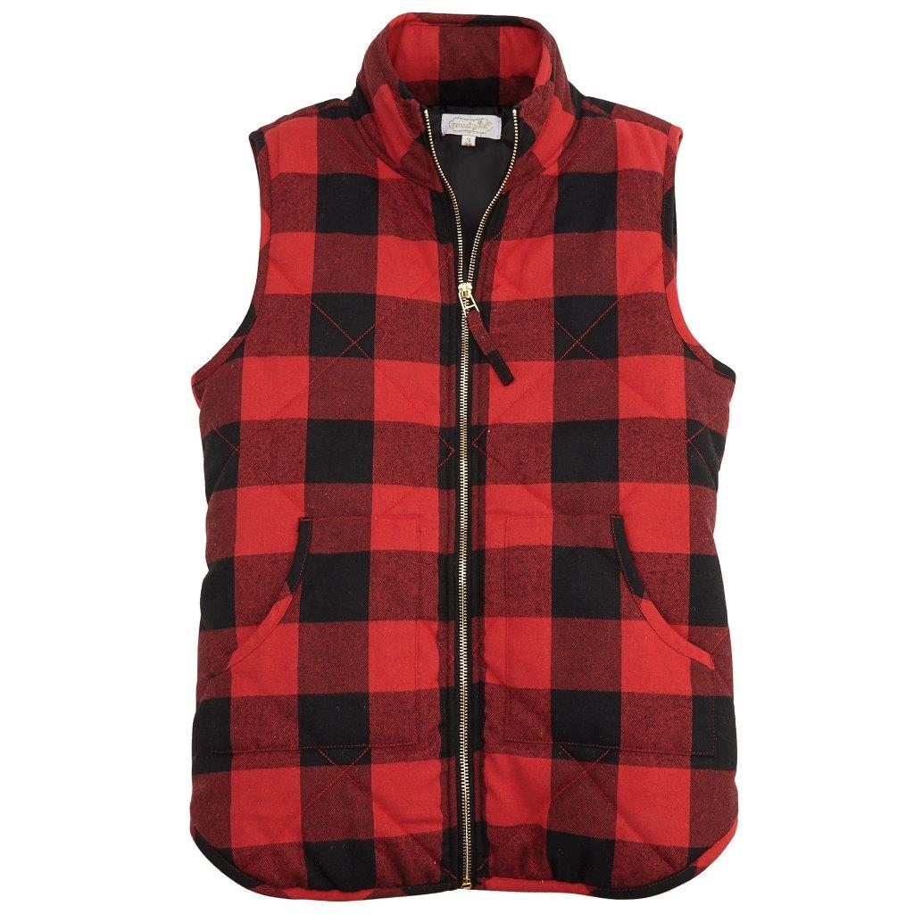 Details about Mud Pie Womens Brodie Outerwear Vest Red Black Buffalo Check a4b47a89a410