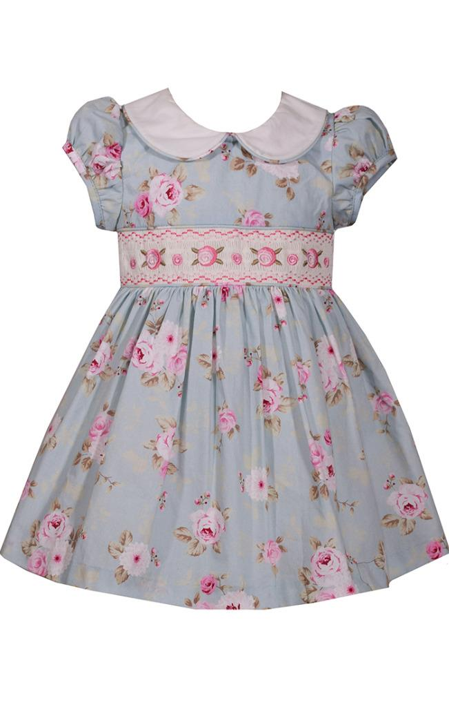 87c907f8911 Bonnie Jean Light Blue and Pink Floral Print Smocked Dress with Peter Pan  Collar