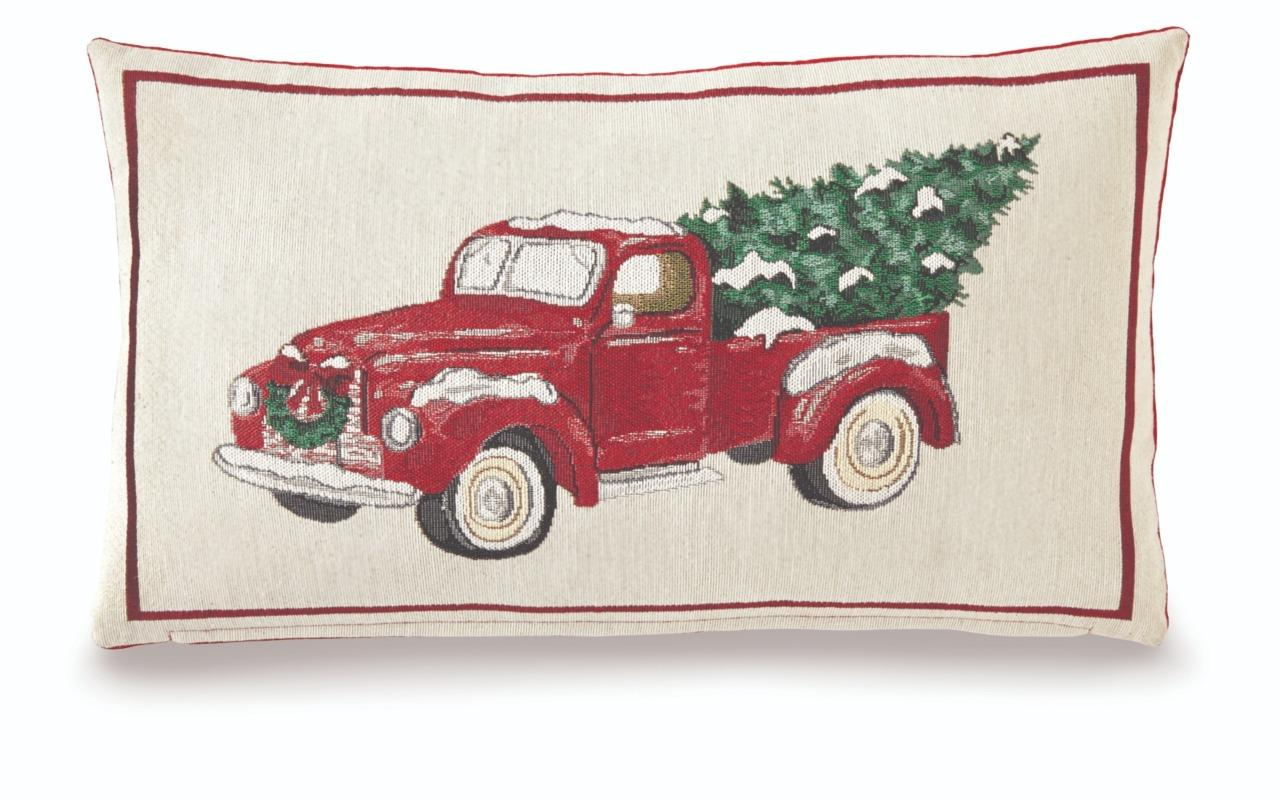 mud pie home vintage christmas woven tapestry red truck decor pillow 12 x 21 - Christmas Truck Decor