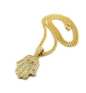 Iced out mini hamsa hand evil eye cuban link gold chain pendant more mini pendants and chains aloadofball Choice Image