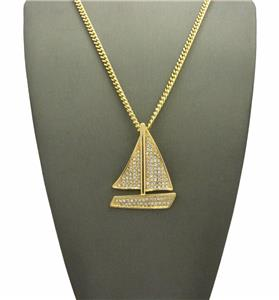 Iced out mini lil boat cuban link gold chain pendant necklace lil we accept paypal payments mozeypictures Choice Image