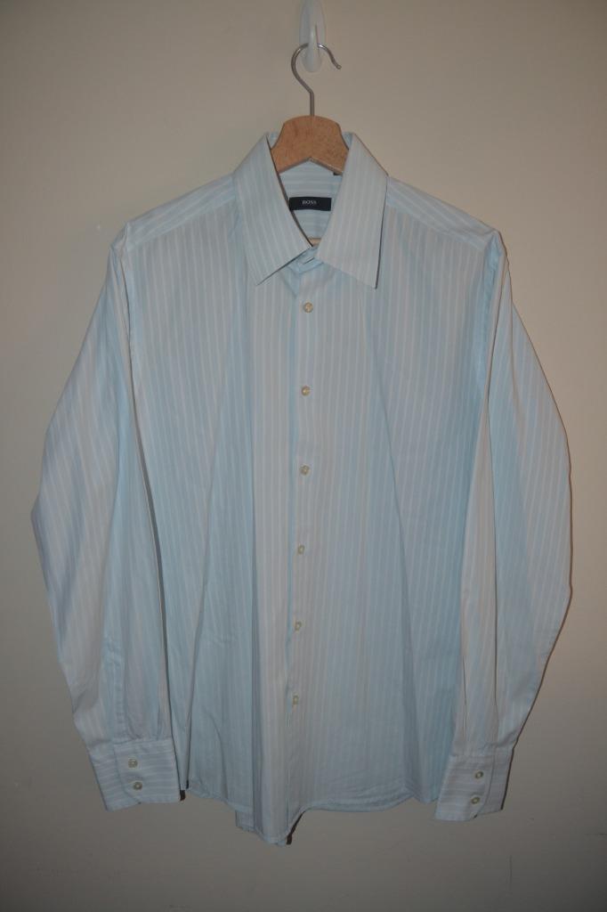 825904443 Details about MENS PALE BLUE & WHITE STRIPE HUGO BOSS ENZO LONG SLEEVE SHIRT  UK 42 - 16 1/2