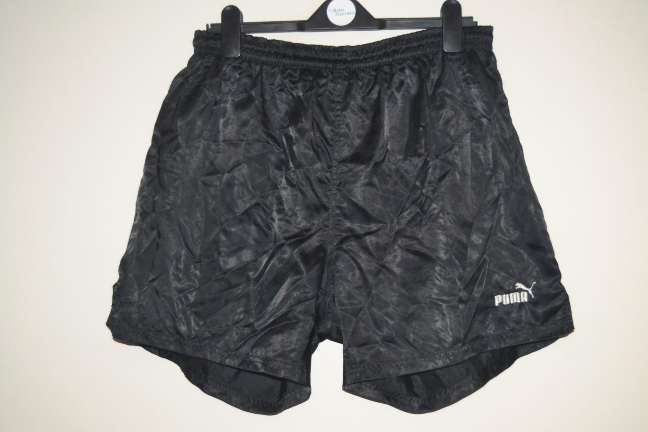 Details about RETRO PUMA NYLON SHINY BLACK CASUAL GYM FOOTBALL SHORTS MENS SIZE 9 XL