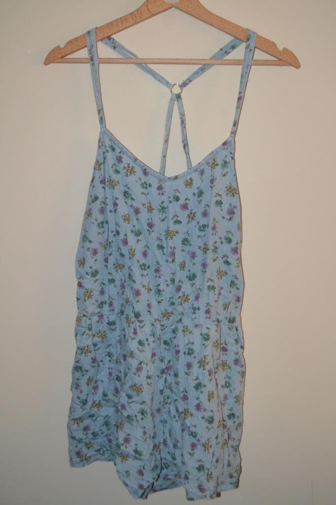 f23e488978 Details about RETRO BLUE FLORAL TOPSHOP STRAPPY SLEEVELESS SHORT PLAYSUIT  UK 12