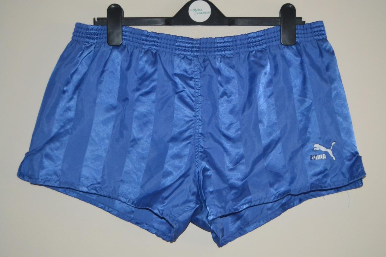 Details about RETRO PUMA NYLON SHINY BLUE CASUAL GYM IBIZA FOOTBALL SHORTS MENS SIZE 7 LARGE