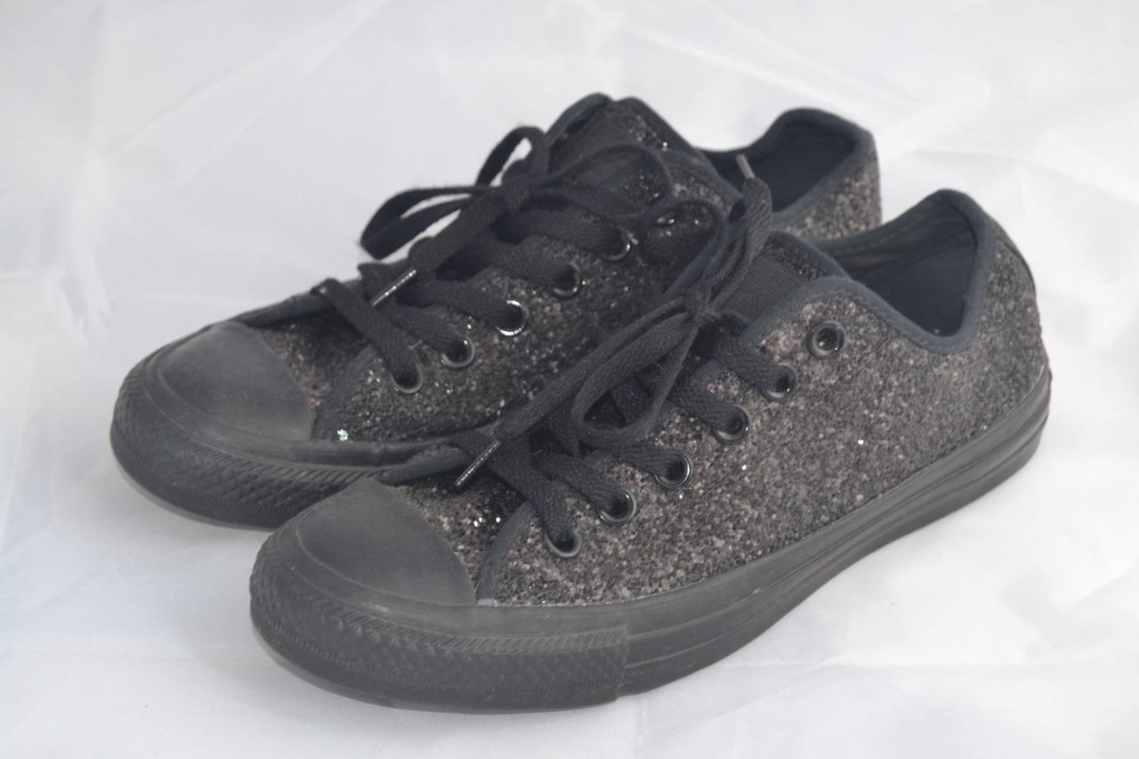 Details about BLACK GLITTERY CONVERSE LACE UP ALL STAR OX SPARKLY TRAINERS UK 5 146243C