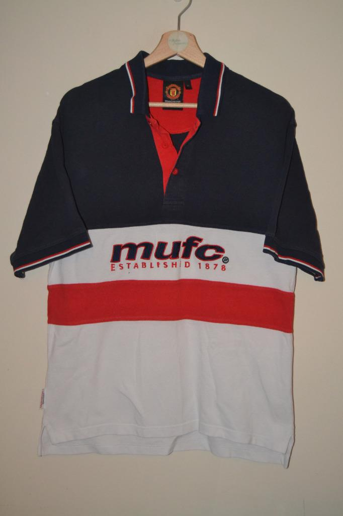 Mens Retro Manchester United Mufc Short Sleeve Polo Shirt Uk Small Ebay