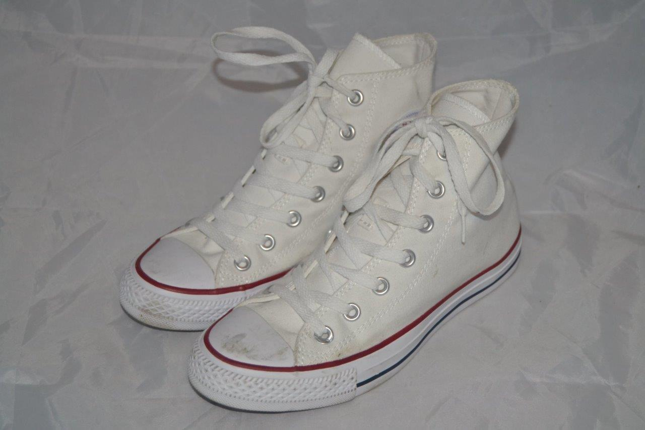 Details zu WOMENS WHITE CONVERSE ALL STAR BASEBALL TRAINERS PLIMSOLLS HI TOPS UK 5 M7650C