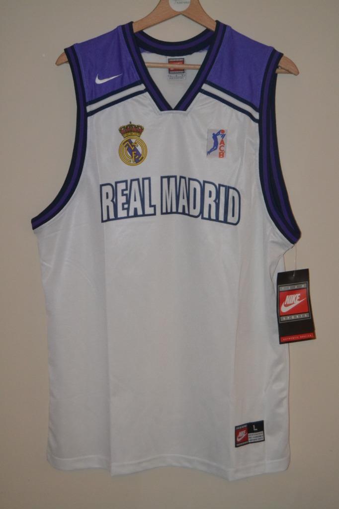 retro 90 39 s nike real madrid basketball jersey vest shirt. Black Bedroom Furniture Sets. Home Design Ideas