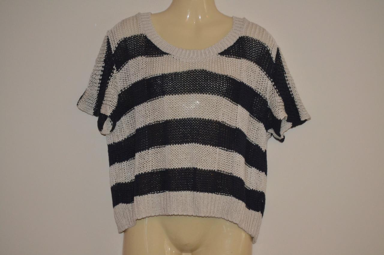 sale retailer los angeles pretty nice BLACK & WHITE STRIPED KNITTED TOPSHOP SHORT CROPPED CROCHET KNIT ...