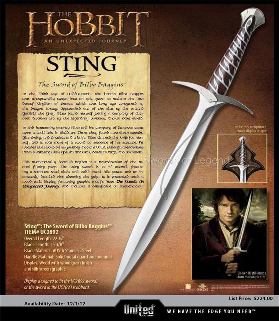 UNITED The Hobbit Sting Sword Of Bilbo Baggins With ...  The Hobbit Bilbo Sword