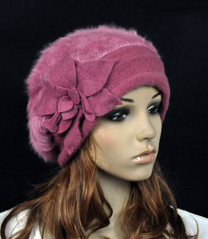 JM32 Rabbit Fur & Wool Women's Winter Hat Beanie Cap Cute ...