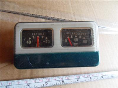 Vintage 50s Stewart Warner Square Gauge Pod Amperes and Oil Pressure