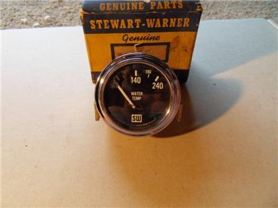 Vintage Stewart Warner Curved Glass 6 Volt Water Temp Gauge Electric