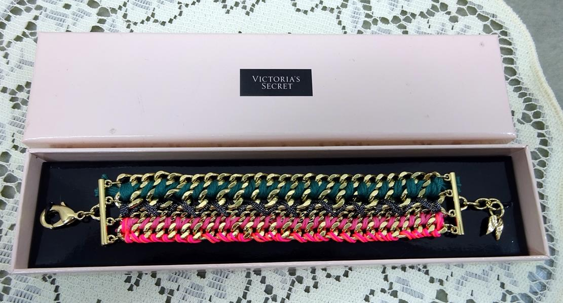 c885f9f13e891 Details about Victorias Secret Gold Curb Link Bracelet with Pink Black  Green Weave New In Box