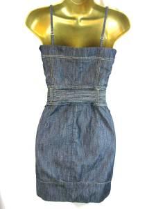 KAREN MILLEN Sz 8-16 Blue Denim Zip Up Corset DRESS Branded KM Metalwork