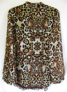"""Coldwater Creek Pintucked /""""Jungle Leaves/"""" Burnout Tunic"""