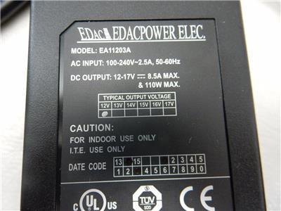NEW 12V VDC 8.5Amp 110Watt AC DC Power Adapter EDAC EA11203A EDACPOWER ELEC LED