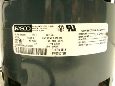 Fasco Motor 7126 3875 1/6 HP 230v 1075 RPM 121708F Used on