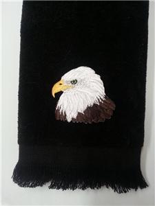 bald eagle fingertip TOWEL cabin black applique FREE SHIP patriotic bird