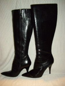 842378a6aaab VIA SPIGA~AMPIO~Tall Black Leather High Heel Boots~7 M~Made in Italy ...