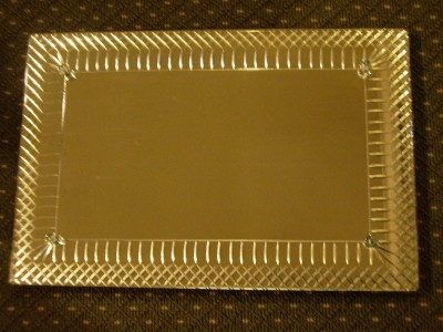 Heavy Vintage Art Deco Plateau Fancy Etched Vanity Tray Mirrored Display