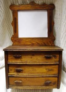 Antique Miniature Dresser Salesman Sample Bureau Doll