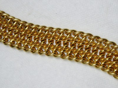 Heavy Vintage Monet Gold Tone Triple Chain Link Bracelet 75 Grams