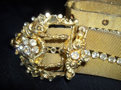 R A R E Antique Victorian 800 Silver Paste Rhinestone Belt