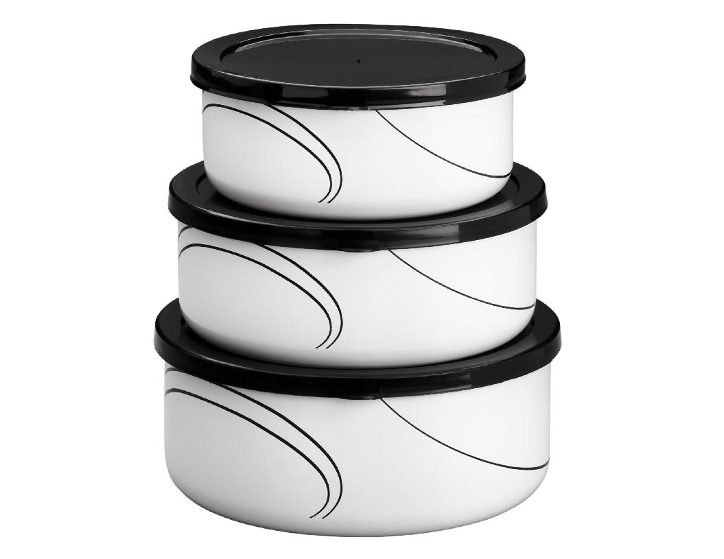6 Pc Corelle Nesting Metal Storage Bowl Set Plastic Covers Pick Your Pattern Ebay