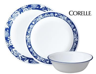 Dishwasher safe for long lasting patterns u2022 Microwave and oven use for versatility u2022 Patterns wonu0027t wash wear or scratch off  sc 1 st  eBay & 12-pc CORELLE Livingware TRUE BLUE Dinnerware Set *REVERSE OLD TOWN ...