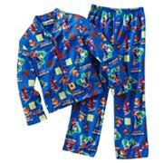 Super Mario Bros Wii Nintendo Boys Pajamas Sz 10 Large Flannel 2 Pc w