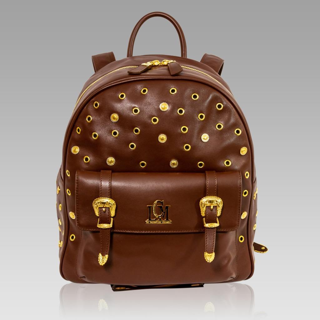 9162cbab13a1 Valentino Orlandi Designer Maroon Leather Large Sling Backpack Bag w ...